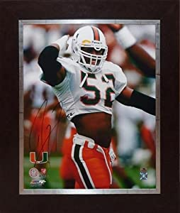 Ray Lewis Autographed Miami Hurricanes (White Jersey) Deluxe Framed 24x30 Stretched... by PalmBeachAutographs.com