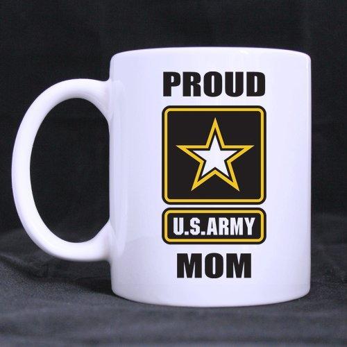 Military Mug, Proud U.S. Army Mom White Ceramic Coffee Mugs Cup - 11Oz Sizes