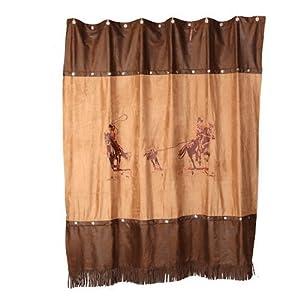 Western Cowboy Team Roping Fabric Shower Curtain