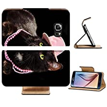 buy Samsung Galaxy S6 Flip Wallet Case Liili Premium Glamorous Black Cat Wearing Pink Hat And Beads Lying Against Black Background Isolated Image Id 9293103