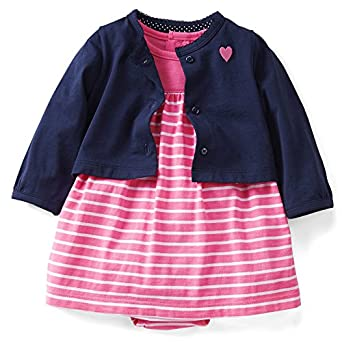 Carter's Girls 3M-12M Cardigan and Dress Set (3 Months, Pink)