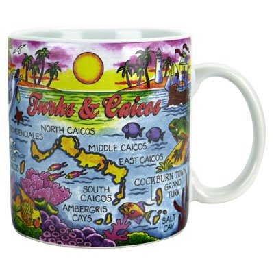 "Turks & Caicos Map Caribbean Souvenir Collectible Large Coffee Mug (4""H X 3.75""D) 16Oz"