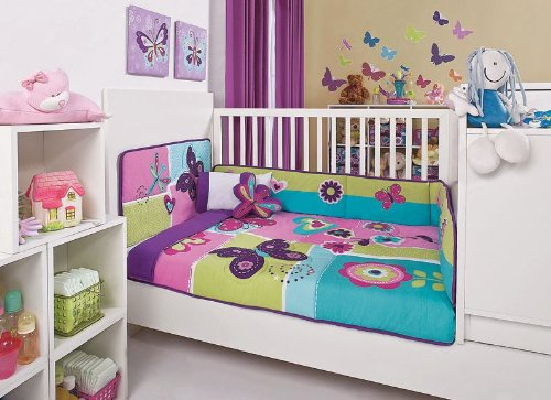 At amazon com quot baby girls purple sweet garden crib bedding set 6 pcs