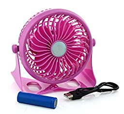 Momoday® 360 Degree Adjustable Wireless Rechargeable Desk Fan Mini Portable Fan Electric Personal Table Fans Stepless Wind Speed Adjustment with 18650 Rechargeable Battery and USB Cable (Pink)