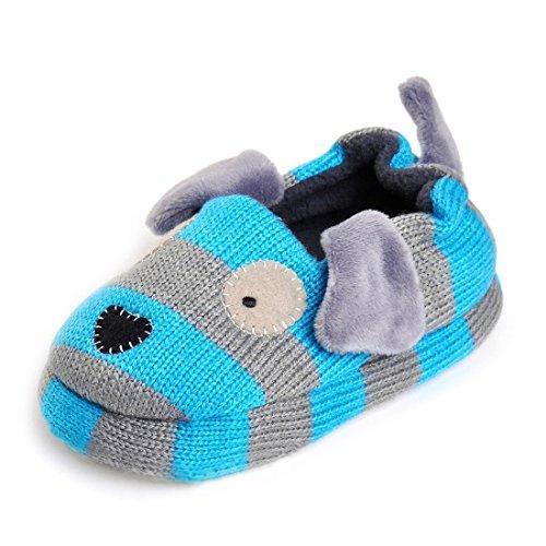 Beeliss Toddler Boys Slippers Cartoon Puppy Crochet Shoes (6-7 M US Toddler, Grey / Blue)