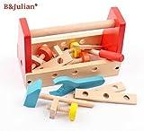 B&Julian® Werkzeugkasten Kinder Holz 16 tlg. mit Zubehöre...