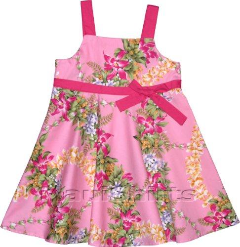Bias Flare Dress - Paradise Garden Lei Empire Butterfly Bow Hawaiian Aloha Sundress in Pink - 6 Months