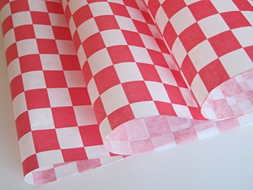 Red Check Dry Wax Paper Deli Wrap and Basket Liner | 25ct (Paper Liners For Food Baskets compare prices)