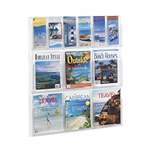 Safco Reveal Clear Literature Displays, 12 Compartments, 30w x 2d x 34-3/4h, Clear