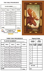 Bridge Tallies - Moose - (12 Pack) 2 & 3 Table Progessive
