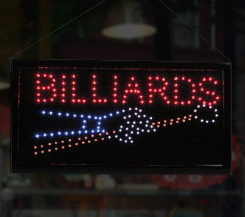 LED Neon Lighted Billiards Sign