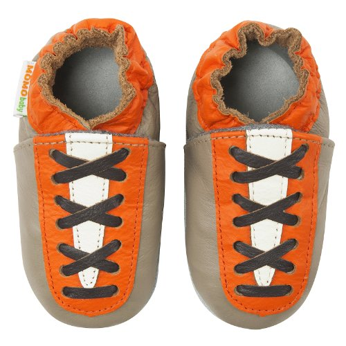 Momo Baby Infant/Toddler Lace Up Sneaker Taupe Soft Sole Leather Shoes - 12-1... front-979686