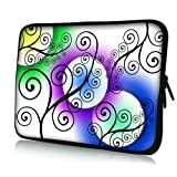 15 Inch Artistic Swirly Pattern With Colorful Circles On White DOUBLE Sided Print Laptop Sleeve Cover Netbook...