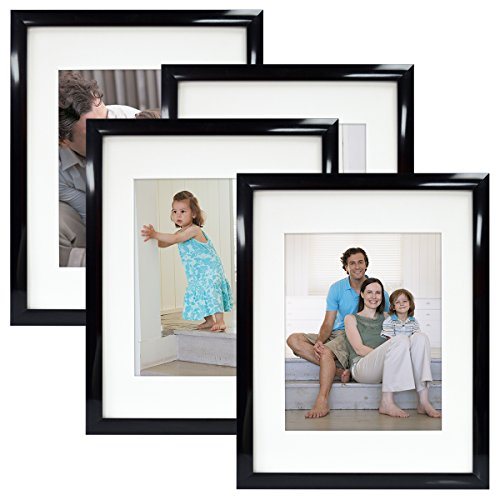 MCS 11X14 Gallery Picture Frame Matted to Display 8X10 Pictures Glass Front (Black) 4 Pack