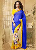 RND Creation Georgette Blue color Embroidery Saree With Blouse Pices