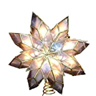 Kurt Adler 9-Inch Capiz Star Tree Topper with Clear Plates and 10 Clear Lights