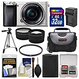 Sony Alpha A6000 Wi-Fi Digital Camera & 16-50mm Lens (Silver) with 32GB Card + Case + Battery/Charger + Tripod + Filter + Tele/Wide Lens Kit