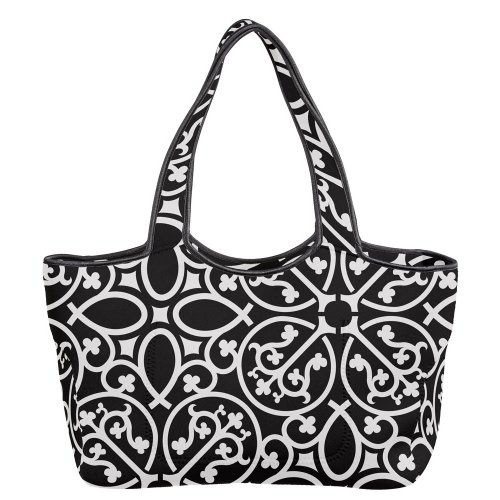 Black and White Medallion Neoprene Tote Bag - 1