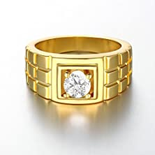 buy Geminis Mens Watch Chain Pattern Gold Plated Cubic Zirconia Wide Band Rings-9
