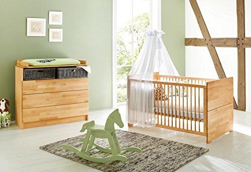 Pinolino-Sparset-Natura-breit-2-teilig-Kinderbett-140-x-70-cm-und-breite-Wickelkommode-mit-Wickelansatz-Buche-massiv-gelt-Art-Nr-09-21-74-B