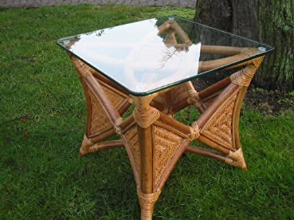 Coffee Table / Side Table Rattan Table with Glas