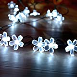 Loende Solar Blossom String Lights, 50 LED 23Ft White Waterproof Fairy String Lights for Patio Garden Party Decor