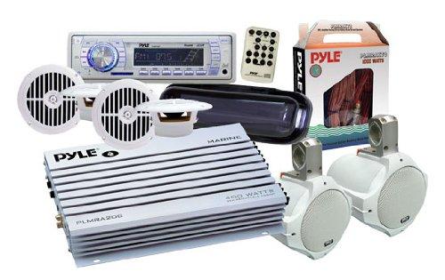 Pyle Ktmrak34Wt 6 Speakers Marine Am/Fm Sd/Usb/Radio W/Cover/Wiring/Amplifier & Antenna White