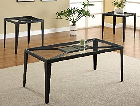 Brand New 3-pk Corland Coffee Table (1)and End Table (2) Cocktail set with 5mm Glass Table Top