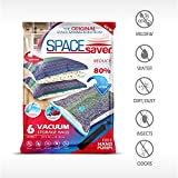 from Space Saver Premium Space Saver *Jumbo Vacuum Storage Bags* Works With Any Vacuum Cleaner + FREE Hand-Pump for Travel! Double-Zip Seal and Triple Seal Turbo-Valve for Maximum Compression! 80 More Storage Space than other Brands! 100 Money-Back Guarantee! (6 Pack 100 x 80CM) Model SSJ4030