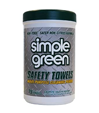Simple Green 13351 Lint Free Polypropelyne Industrial Safety Towel Canister, 75 Wipes