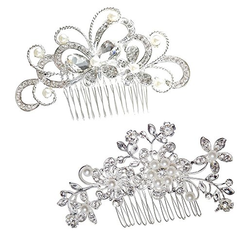 Yueton Pack of 2 Bridal Wedding Silver Crystal Rhinestones Pearls Women Hair Comb