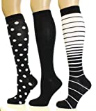Noble Mount Women's Premium Knee Hi Socks - 3 Pack - Size 9-11 - Trendy Designs Available