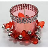 BEAUTIFUL GIFT WRAPPED FESTIVE RED GLASS T- LIGHT HOLDER WITH BEAUTIFUL DECORATIVE RING