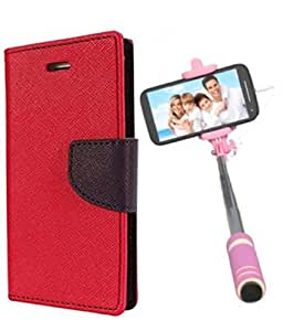 Aart Fancy Diary Card Wallet Flip Case Back Cover For Mircomax AQ5001 -(Red) + Mini Aux Wired Fashionable Selfie Stick Compatible for all Mobiles Phones By Aart Store