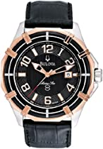 Rose Two Tone Marine Star Black Dial Strap