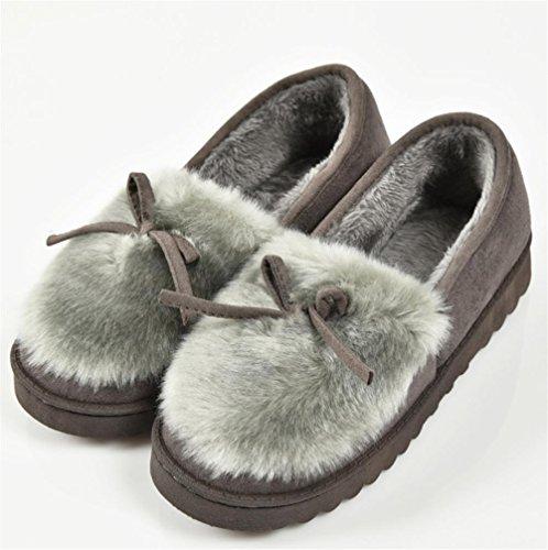 ZHLONG Pantofole di cotone con fiocco Ladies casual pantofola autunno coperta e super morbido peluche di inverno calda , gray , 39