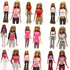 Qiyun Yiding 5 Sets=10 Items=5 Clothes Outfit 5 Trousers Pants for Barbie Doll Random Style