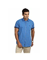 Sting Blue Check Slim Fit Half Sleeve Casual Shirt For Men - B00TTZQR40