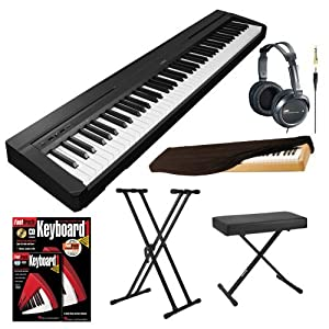 Yamaha P35B 88 Key Digital Piano Black Bundle with Knox X Style Keyboard Bench Knox Double X Keyboard Stand Dust Cover Stereo Headphones and FastTrack Keyboard Method Starter Pack by YAMAHA