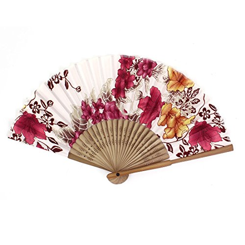 Chinese Japanese Folding Red Flowers Plastic Bamboo Frame Hand Fan (Red Chinese Hand Fan compare prices)