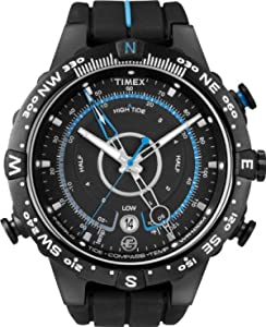 Timex T49859 Expedition E-Tide Temp Compass Watch, Black Dial, Black Silicon Strap and Indiglo Night Light. Accurate 4th Hand Electronic Compass.