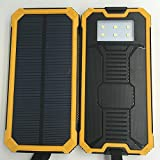 Solar Charger,Solar External Battery Pack,Dual USB Portable External Solar Power Bank Charger 15000mAh for iPhone 6 6s Plus 5s 5se Samsung Galaxy S7 S6 S5 HTC ... (Yellow)