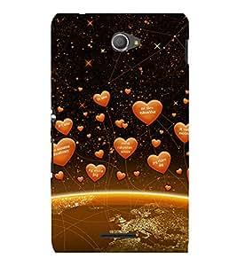 printtech Heart Network Back Case Cover for Sony Xperia E4 Dual::Sony Xperia E4