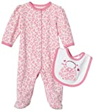 Little Me Heart Leopard Footie with Bib, Hot Pink, Newborn