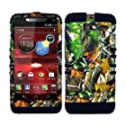 CellPhone Trendz Hybrid 2 in 1 Case Hard Cover Faceplate Skin Black Silicone and Camo Mossy Hunter Green Leaves Snap Protector for Motorola DROID RAZR M (XT907