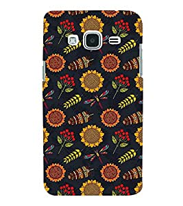 FLOWER AND LEAVES ANIMATED PATTERN 3D Hard Polycarbonate Designer Back Case Cover for Samsung Galaxy J2 (2016)
