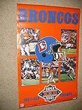 * JOHN ELWAY / KARL MECKLENBURG * signed 1987 Super Bowl XXII poster / UACC RD # 212