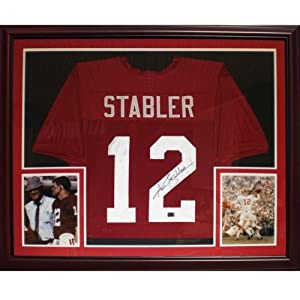 Ken Stabler Autographed Alabama Crimson Tide (Maroon #12) Deluxe Framed Jersey by PalmBeachAutographs.com