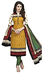 Aarvi Fashion Ethnicwear Women's Dress Material(Yellow_Free Size)