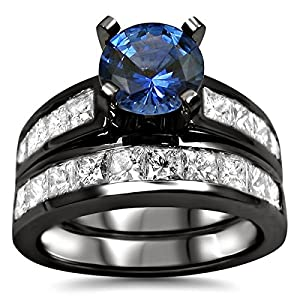 2.85ct Blue Round Sapphire Diamond Engagement Ring Bridal Set 14k Black Gold Rhodium Plating Over White Gold